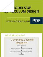 TOPIC 2 Models of Curriculum Design Part 2 Steps in relation to models