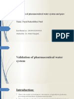 validation of water system and pure steam