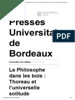 L'invention du solitaire - Le Philosophe dans les bois _ Thoreau et l'universelle solitude -