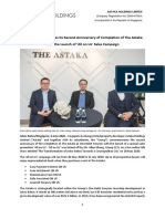 The Astaka Celebrates Its Second Anniversary of Completion of the Astaka With the Launch of 'All on Us' Sales Campaign