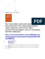 How does online social networking enhance life satisfaction