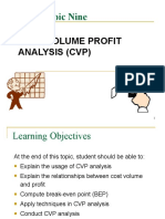 Topic 9 A181 - Cost Volume Profit Analysis