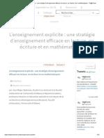 L'enseignement explicite _ une stratégie d'enseignement efficace