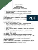 GUIA DE ALGEBRA 1 IDENTIFICANDO ELEMENTOS DE LAS EXPRESIONES ALGEBRAICAS Y LOS POLINOMIOS