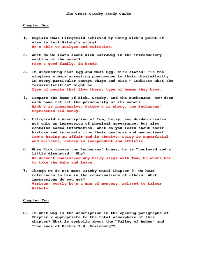 Great Gatsby Study Guide   The Great Gatsby