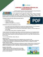 CIRCULAR LIMPIEZA Y DESINFECCIÓN EN LOS APARTAMENTOS