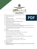 Order of Business Friday 5 June 2020