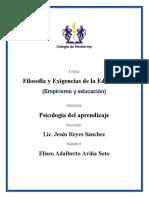 ANALISIS FILOSOFIA Y EXIGENCIAS DE LA EDUCACION EMPIRISMO Y EDUCACIÓN (ELISEO)