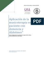 Aplicacion de la musicoterapia en el paciente con demencia y Alzheimer