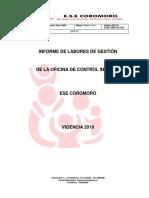 INFORME DE LABORES DE LA OFICINA D ECONTROL INTERNO VIGENCIA 2019