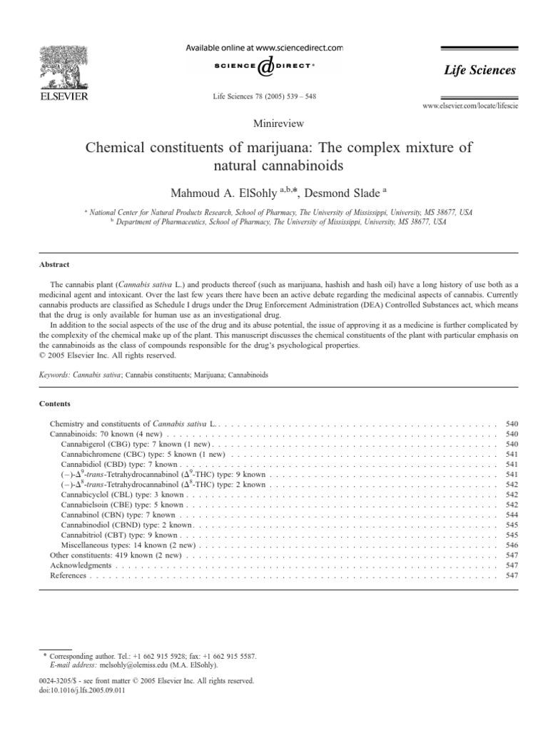 chem constitutes of marijuana cannabis pharmacognosy