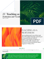Report Teaching as Profession and Vocation