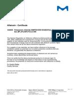 Aflotoxin Certificate