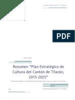 Resumen Plan Estrategico Cultura Tilaran 2015-2025