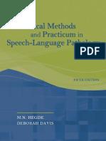 Clinical Methods and Practicum in SLP - MN Hegde