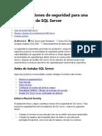 Consideraciones de seguridad para una instalación de SQL Server
