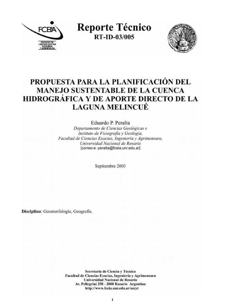 Propuesta de Manejo Sustentable de la laguna Melincué