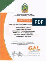 DIRECTIVA N°002-2019-SGPRCT-GPP-GM-MDCGAL LINEAMIENTOS PARA LA ELABORACIÓN, REVISIÓN, APROBACIÓN Y EJECUCIÓN DE PLANES DE TRABAJO DE LA MDCGAL.pdf