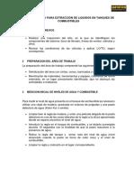 PROCEDIMIENTO PARA EXTRACCIÓN DE LIQUIDOS EN TANQUES DE COMBUSTIBLES