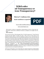 WikiLeaks' Radical Transparency - or Conscious Transparency?