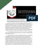 Relatório do Auditor de Controle Interno Orçamentário