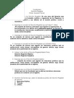 Cuestionario I Parcial Derecho Registral