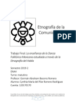 Proyecto previo Etnografía y danza folklórica