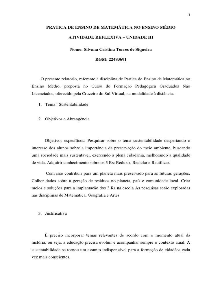 Atividade Reflexiva Iii Silvana C T Siqueira Pdf Sustentabilidade Reciclagem