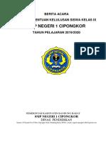Berita Acara Kelulusan Smpn 1 Cipongkor Tahun Pelajaran 2019/ 2020