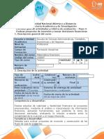 Guia de actividades y rubrica de evaluacion - Paso 3- Evaluar proyectos de inversión y tomar decisiones financieras