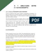 DIFERENCIAS Y SIMILITUDES ENTRE AUTOESTIMA Y AUTOCONCEPTO