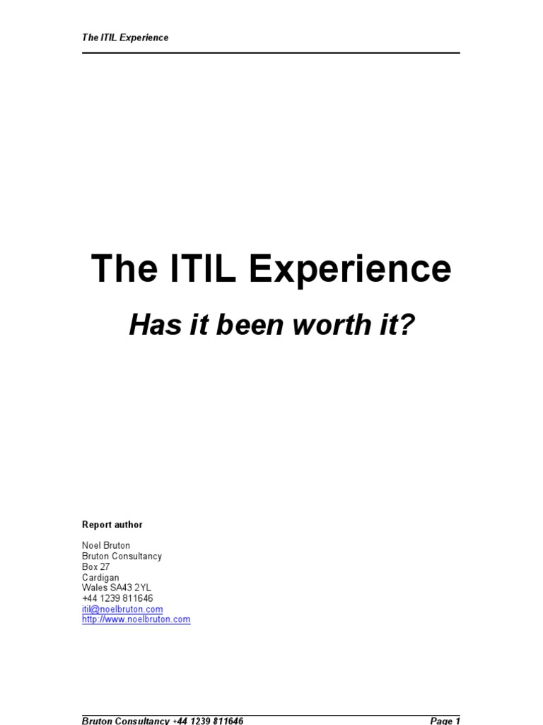 The Itil Experience Hornbill Itil Business