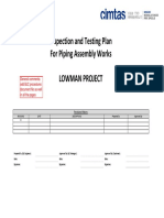 ITP sample for Piping Assembly Works