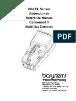 HC-LEL Sensor Addendum to Cannonball 3 Reference Manual