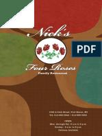 Nick Four Roses Menu