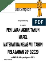 Certificate for Putri Audina for _PENILAIAN AKHIR TAHUN MAPEL..._-dikonversi