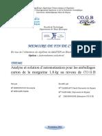 Analyse et solution d''automatisation pour les emballages carton de la margarine 1,8 kg au niveau de CO.GB