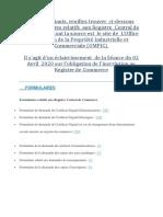 Formulaires relatifs  aux Registre  Central de Commerce