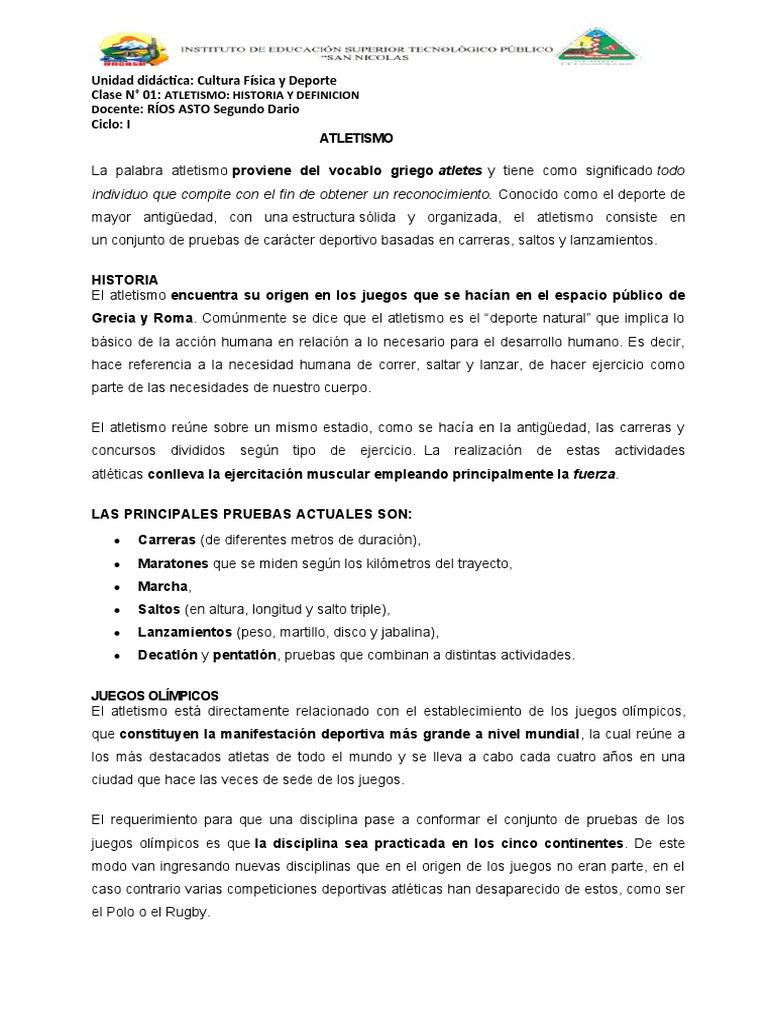 Juegos, tareas y actividades de coordinación: Clase N 01 Atletismo Historia Definicion Docx Deporte Del Atletismo Triatlon