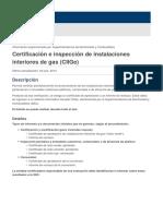 Certificación e inspección de instalaciones interiores de gas (CIIGe)