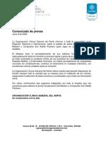 Comunicado de Prensa Junio 6 de 2020
