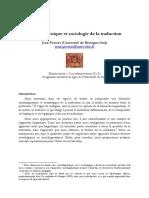 Peeters Sociolinguistique Et Sociologie Traduction Et Paratraduction