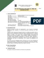 SILABO DE DIDÁCT APLIC ÁREA COMUNICACIÓN I - 202O