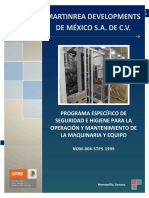 PROGRAMA ESPECIFICO DE SEGURIDAD E HIGIENE PARA LA OPERACION Y MANTENIMIENTO DE LA MAQUINARIA Y EQUIPO 2