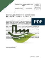 POLITICA DEL SISTEMA DE GESTIÓN DE LA SEGURIDAD Y SALUD EN EL TRABAJO