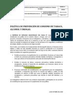 POLÍTICA DE PREVENCIÓN DE CONSUMO DE TABACO