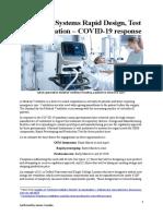 Ventilator Systems Rapid Design Test and Integration – COVID-19 response