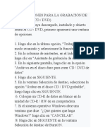 INSTRUCCIONES PARA LA GRABACIÓN DE CD