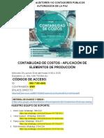 1.- CONTABILIDAD DE COSTOS - APLICACIÓN DE ELEMENTOS DE PRODUCCIÓN