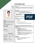 Resume Format BBA BCA